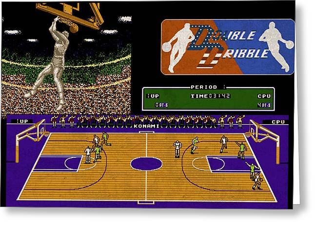 Vintage Nintendo Nes Double Dribble Game Scene Greeting Card