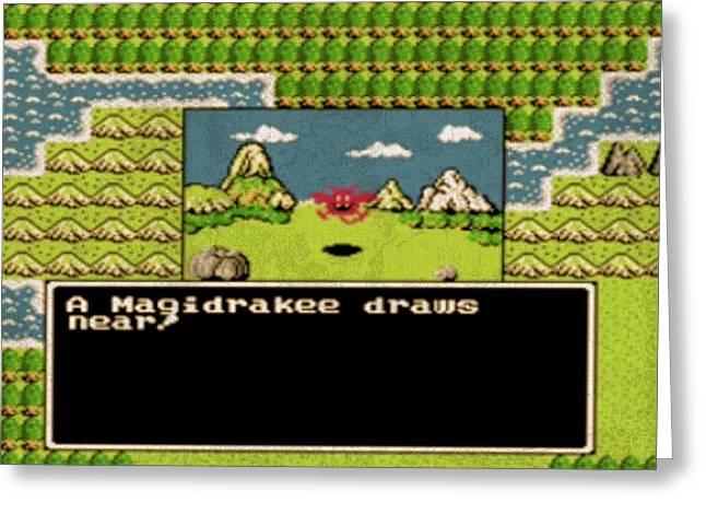 Vintage Nintendo Nes Dragon Warrior Game Scene Greeting Card by Design Turnpike