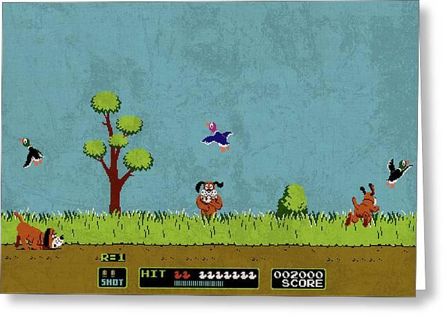 Vintage Nintendo Nes Duck Hunt Game Scene Greeting Card by Design Turnpike