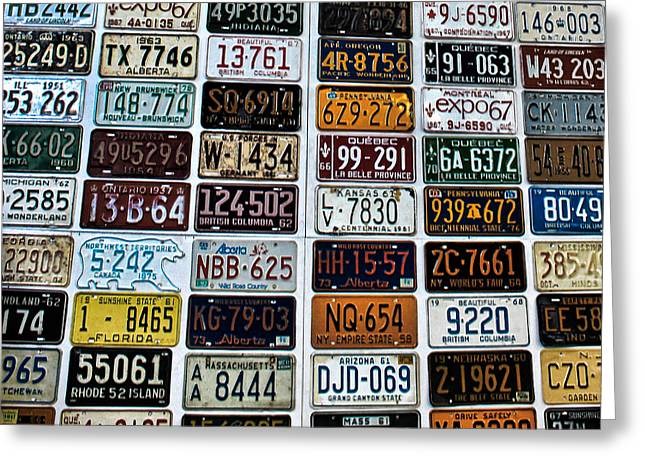 Vintage Number Plates Greeting Card by Martin Newman