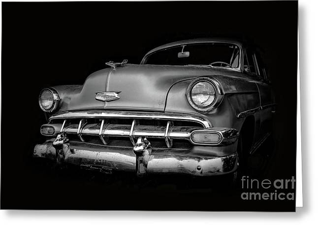 Vintage Old Chevy Classic Black And White Greeting Card by Edward Fielding