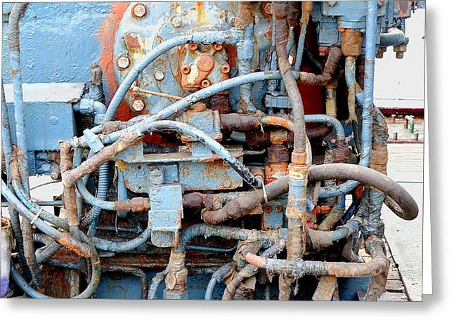 Greeting Card featuring the photograph Vintage Old Diesel Engine On A Ship by Yali Shi