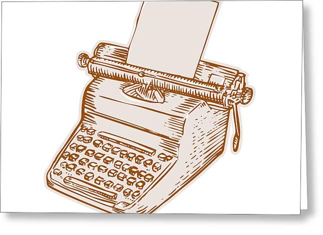 Vintage Old Style Typewriter Etching Greeting Card