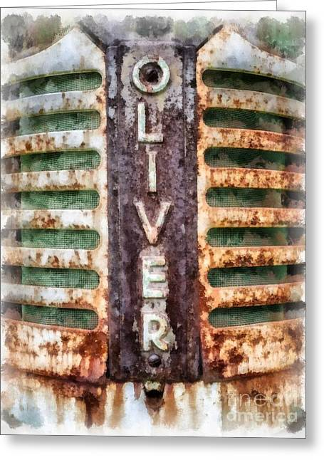Vintage Oliver Tractor Grill Greeting Card by Edward Fielding