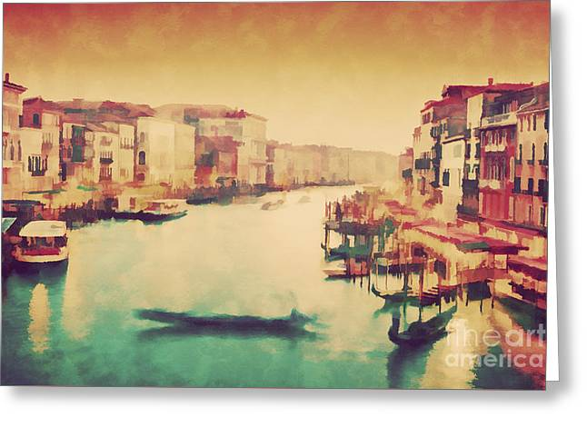Vintage Painting Of Venice, Italy. Gondola Floats On Grand Canal Greeting Card