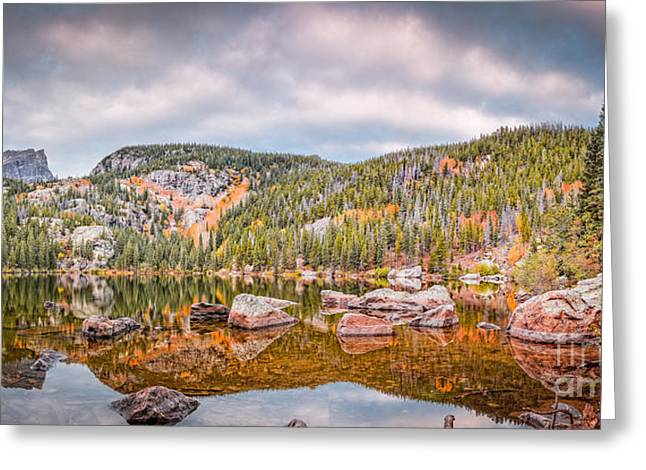 Vintage Panorama Of Bear Lake In The Fall - Rocky Mountain National Park Estes Park Colorado Greeting Card by Silvio Ligutti