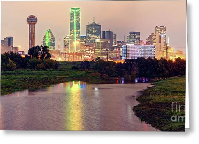 Vintage Panorama Of Dallas Skyline At Night - Dallas Dfw North Texas Greeting Card by Silvio Ligutti
