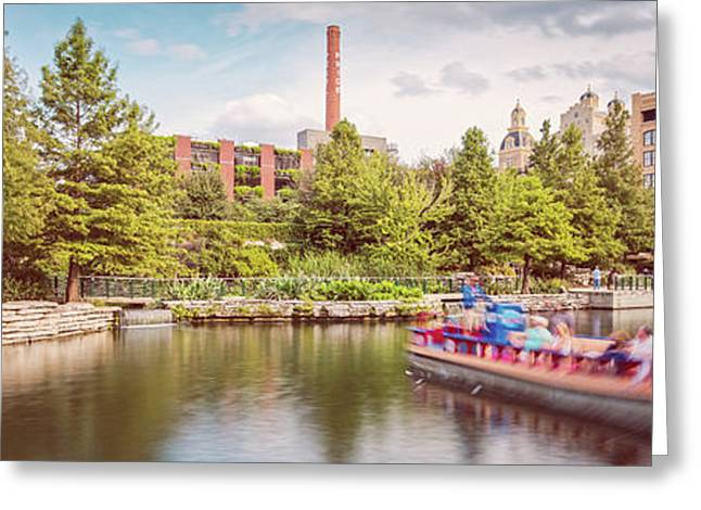 Vintage Panorama Of San Antonio Riverwalk Pearl Brewery And Hotel Emma - Bexar County South Texas Greeting Card