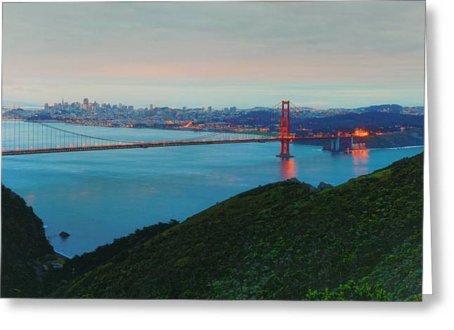 Vintage Panorama Of The Golden Gate Bridge From The Marin Headlands - San Francisco California Greeting Card by Silvio Ligutti