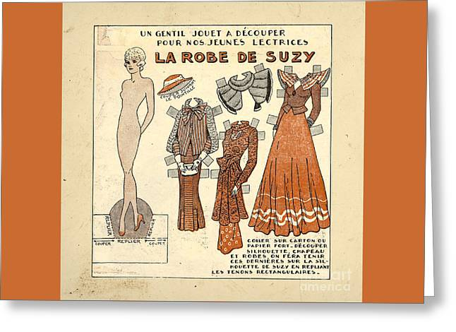 Vintage Paper Doll Greeting Card by Delphimages Photo Creations