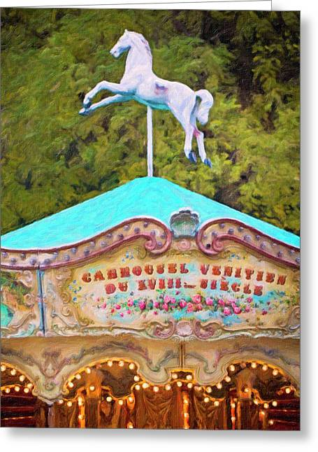 Greeting Card featuring the photograph Vintage Paris Carousel by Melanie Alexandra Price