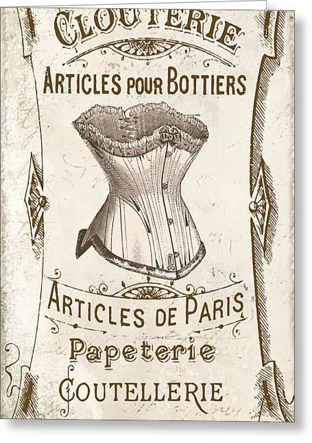 Vintage Paris Corsette Sign Greeting Card by Mindy Sommers