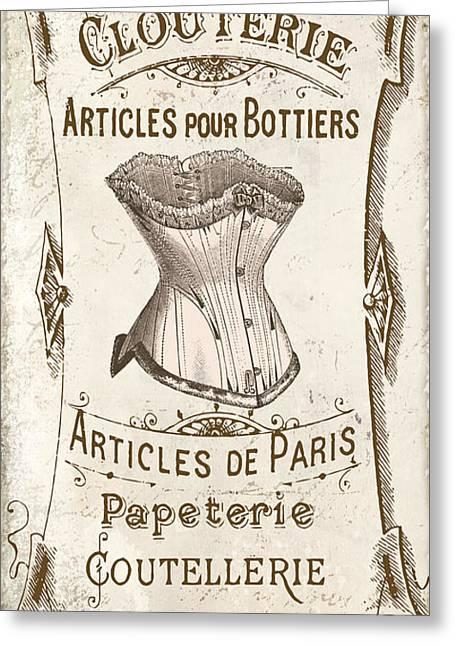 Vintage Paris Corsette Sign Greeting Card