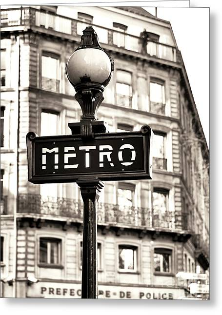 Vintage Paris Metro Greeting Card by John Rizzuto