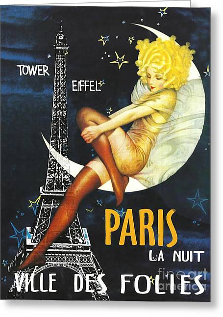 Vintage Paris Moon Greeting Card