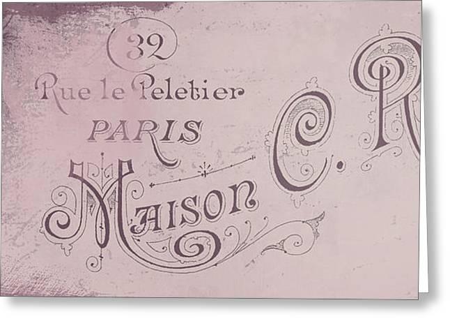 Vintage Paris Pink Sign Greeting Card