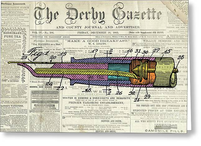 Vintage Patent Pen Drawing, Colorful Art On Old Newspaper Greeting Card