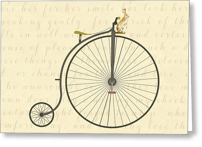 Vintage Penny Farthing Bunny Greeting Card