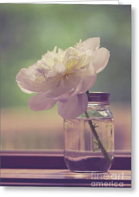 Greeting Card featuring the photograph Vintage Peony Flower Still Life by Edward Fielding