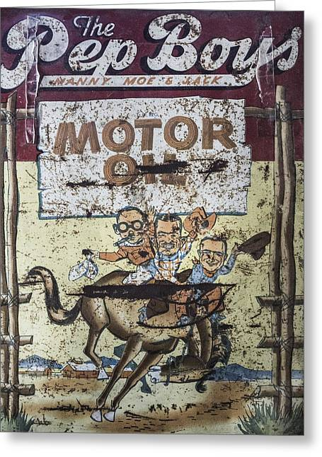 Vintage Pep Boys Sign Greeting Card by Christina Lihani