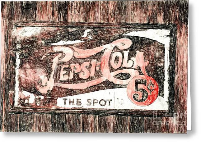 Vintage Pepsi Cola Sign Greeting Card