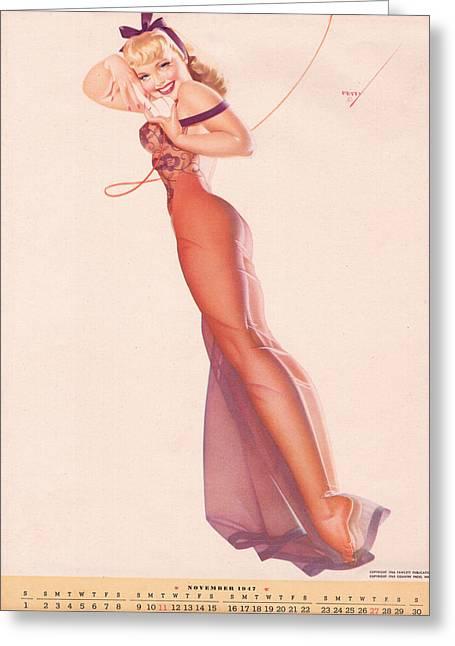 Vintage Petty Girl Pin Up #1 Greeting Card