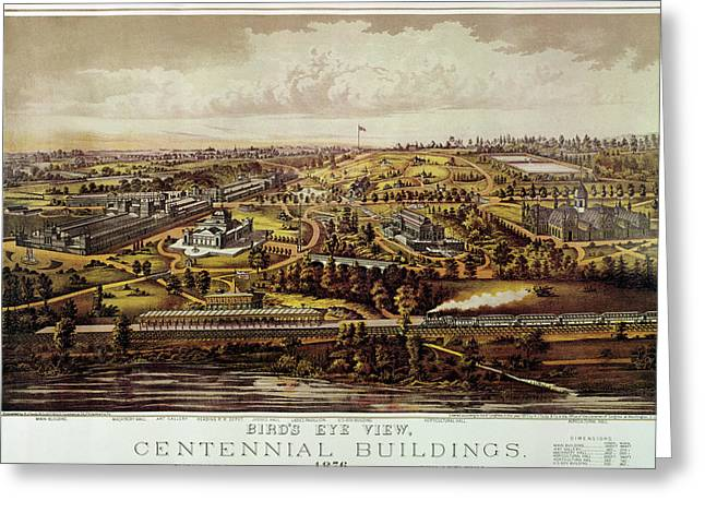 Vintage Philadelphia 1876 Centennial Map Greeting Card by Mark Kiver