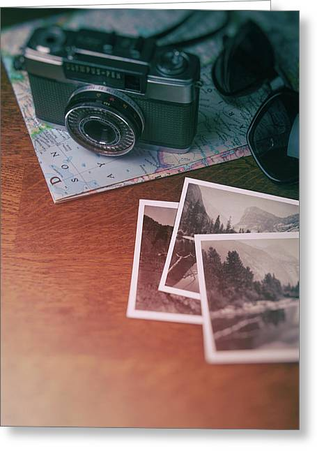 Vintage Photo Camera And Prints Greeting Card
