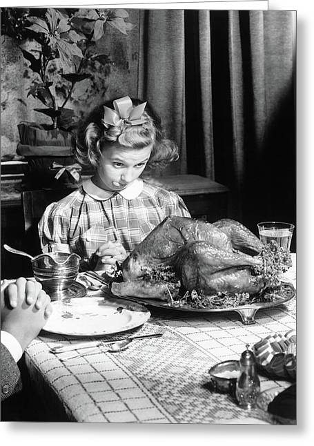 Vintage Photo Depicting Thanksgiving Dinner Greeting Card by American School