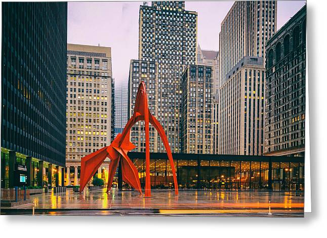 Vintage Photo Of Alexander Calder Flamingo Sculpture Federal Plaza Building - Chicago Illinois  Greeting Card by Silvio Ligutti