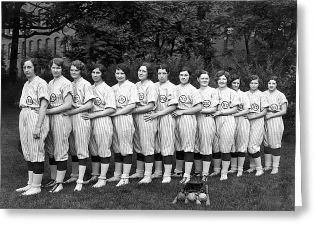 Vintage Photo Of Women's Baseball Team Greeting Card by American School