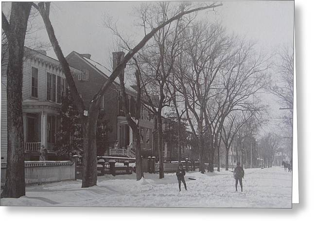 Vintage Photograph 1902 Snowball Fight New Bern Nc Greeting Card by Virginia Coyle