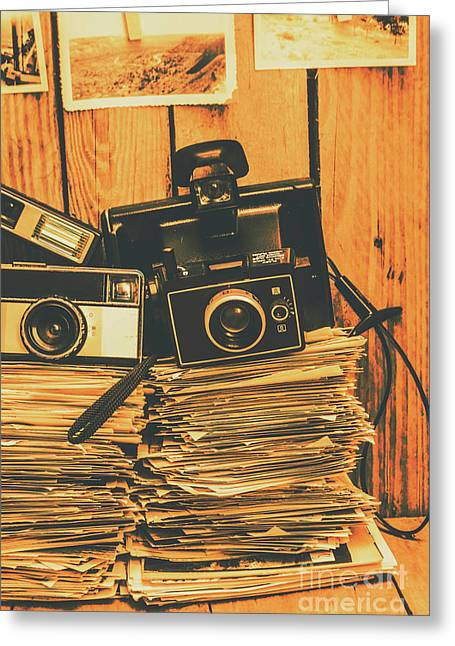 Vintage Photography Stack Greeting Card by Jorgo Photography - Wall Art Gallery