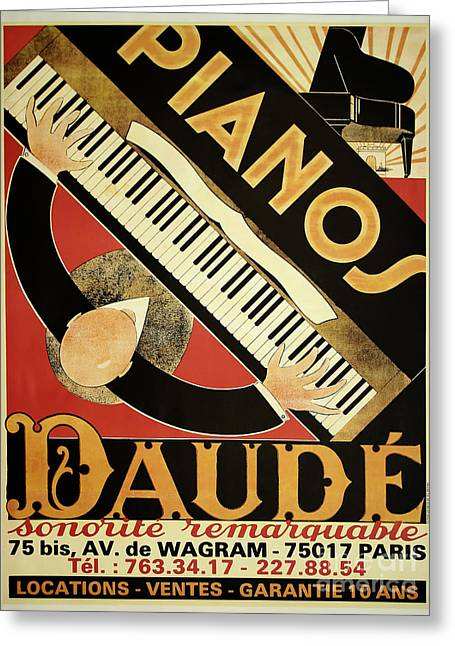 Vintage Piano Art Deco Greeting Card by Mindy Sommers