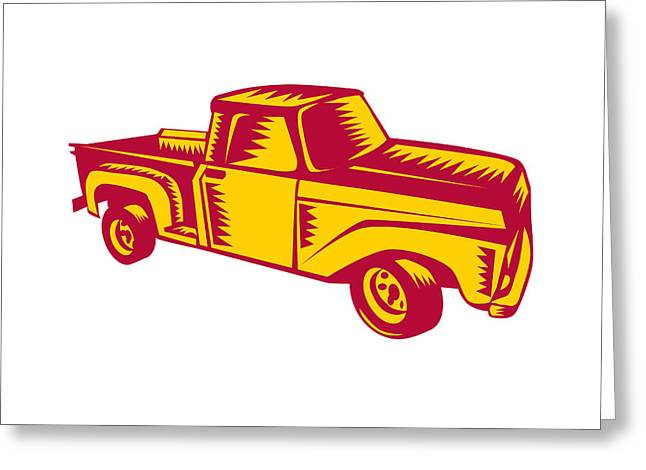 Vintage Pick Up Truck Woodcut Greeting Card by Aloysius Patrimonio