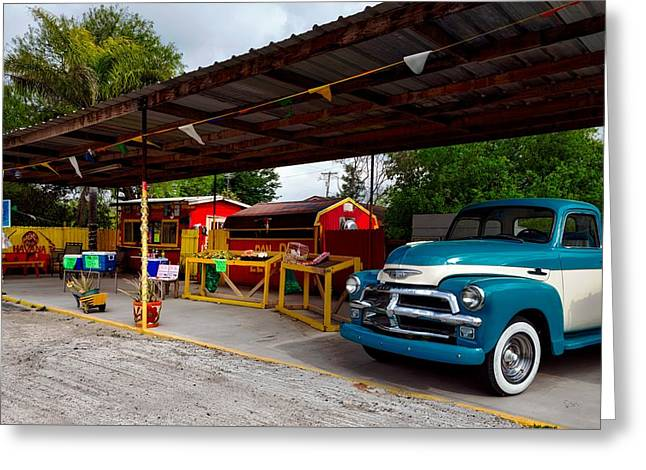 Vintage Pickup At Taco Stand Greeting Card