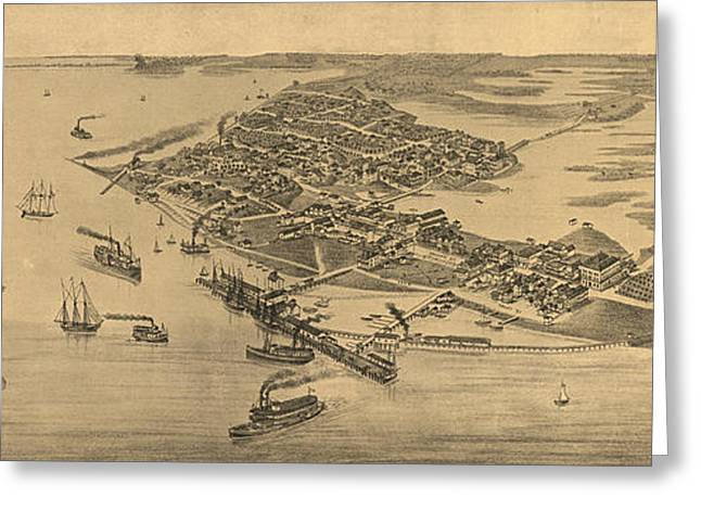 Vintage Pictorial Map Of Cedar Key Fl  Greeting Card by CartographyAssociates