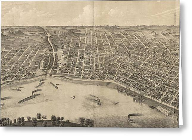 Vintage Pictorial Map Of Evansville Indiana - 1880 Greeting Card by CartographyAssociates