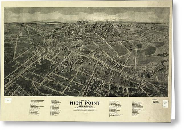 Vintage Pictorial Map Of High Point Nc - 1913 Greeting Card by CartographyAssociates