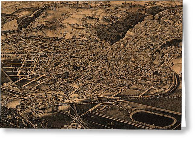 Vintage Pictorial Map Of Ithaca New York - 1882 Greeting Card by CartographyAssociates