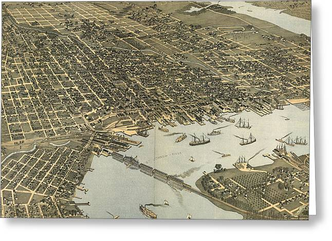 Vintage Pictorial Map Of Jacksonville Fl - 1893 Greeting Card by CartographyAssociates