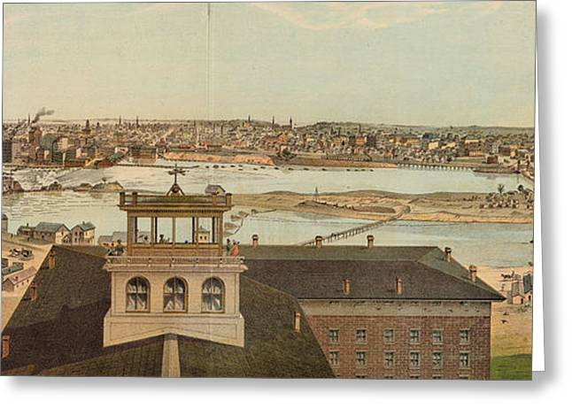 Vintage Pictorial Map Of Minneapolis Mn - 1874 Greeting Card