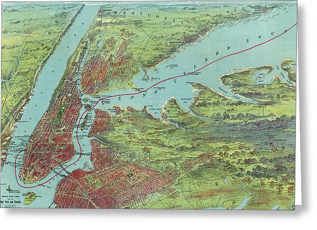 Vintage Pictorial Map Of Of New York City - 1909 Greeting Card by CartographyAssociates