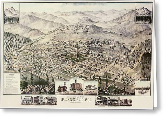 Vintage Pictorial Map Of Prescott Arizona - 1885 Greeting Card by CartographyAssociates