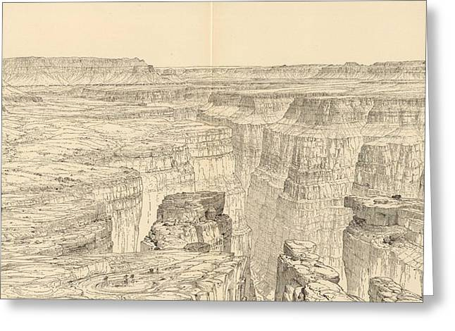 Vintage Pictorial Map Of The Grand Canyon - 1895 Greeting Card