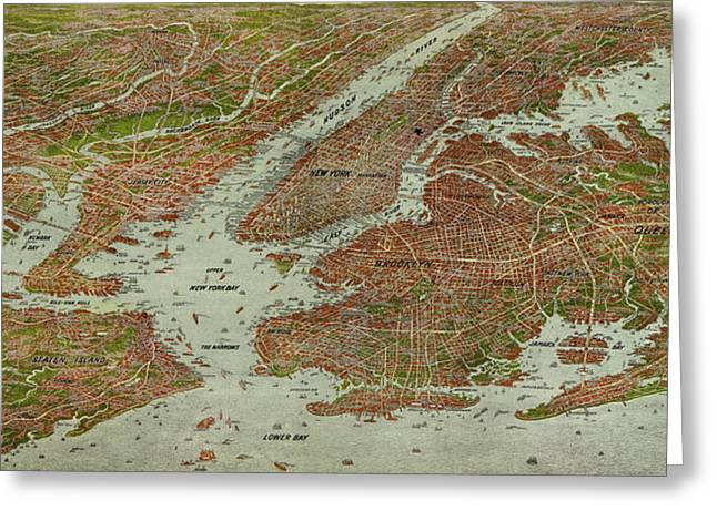 Vintage Pictorial Map Of The Nyc Area - 1912 Greeting Card