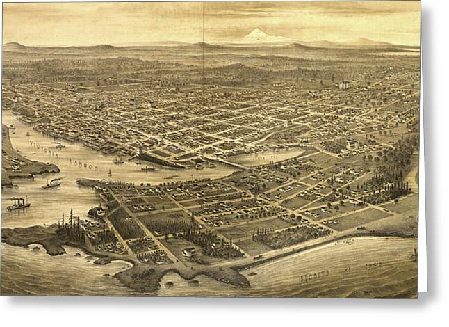 Vintage Pictorial Map Of Victoria Vancouver - 1878 Greeting Card