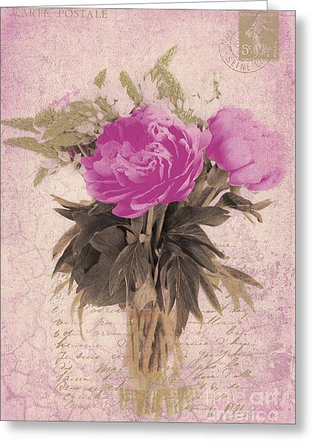 Vintage Pink Peonies Greeting Card by Karen Lewis