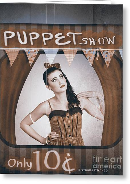 Vintage Pinup Girl Inside A Puppet Show Booth Greeting Card by Jorgo Photography - Wall Art Gallery