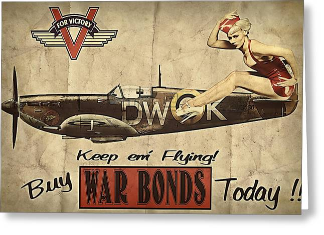 Vintage Greeting Cards - Vintage Pinup Warbond Ad Greeting Card by Cinema Photography